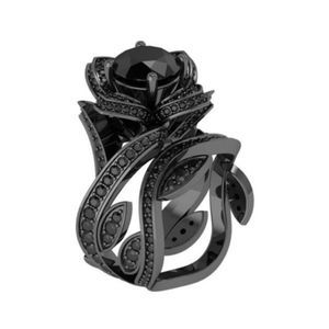 double flower ring black gold filled size 7